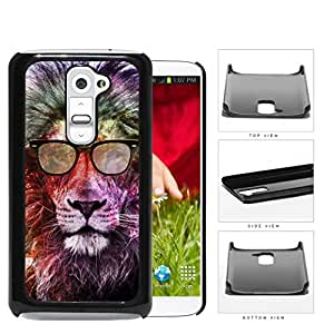linJUN FENGCool Hipster Lion with Eyeglasses and Colorful Nebula Background LG G2 Hard Snap on Plastic Cell Phone Cover
