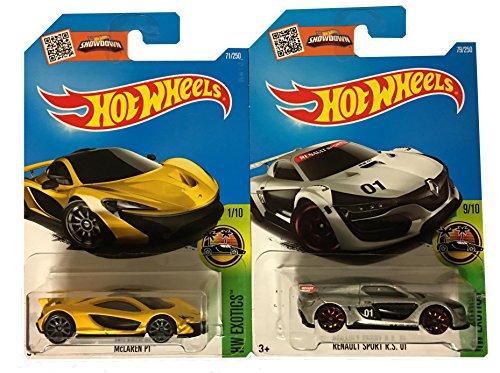 Hot Wheels 2016 Renault Sport R. S. 01 (Silver) #79& McLaren P1 (Yellow) #71 2-Car Bundle Set