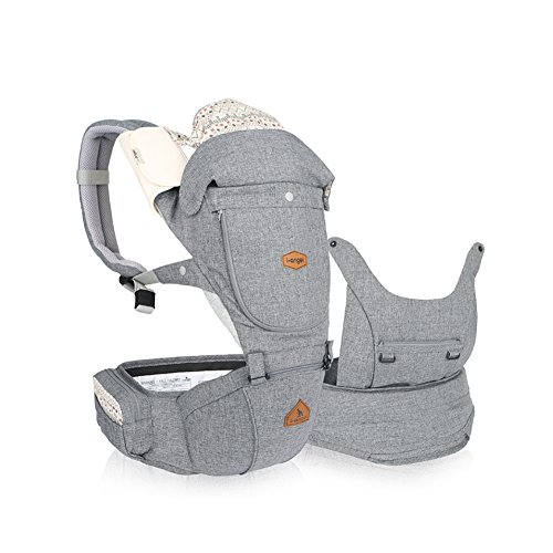 I-angel Miracle Baby Carrier Hipseat Front Backpack Carrier Ergonomic Design for Parents,Sleeping Hood,Organic Cotton Teething Pads (Melange-Gray)