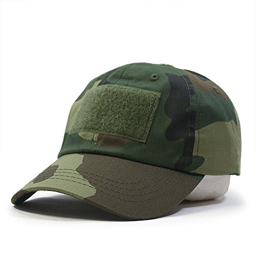 US Military Tactical Operator Adjustable Cap with Loop Patches (Woodland Camo) ()