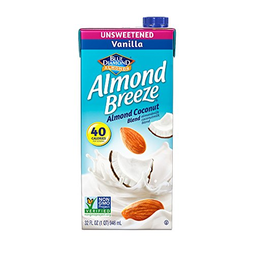Almond Cashew Milk - Almond Breeze Dairy Free Almondmilk Blend, Unsweetened Vanilla Almond Coconut, 32 Ounce (Pack of 12)