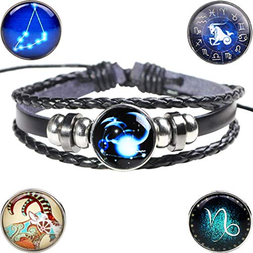 lancy's jewelry Capricorn Style Classic Vintage Rope and Charm Leather Bracelets Braided Wrist Cuff for Men Braided Wrist Cuff ()
