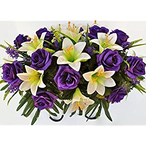 Easter Lilly & Purple Rose Cemetery Saddle for Grave Decoration at Easter or Mother's Day 12