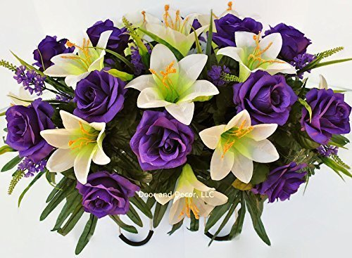 Easter Lilly & Purple Rose Cemetery Saddle for Grave Decoration at Easter or Mother's (Not Artificial Roses)