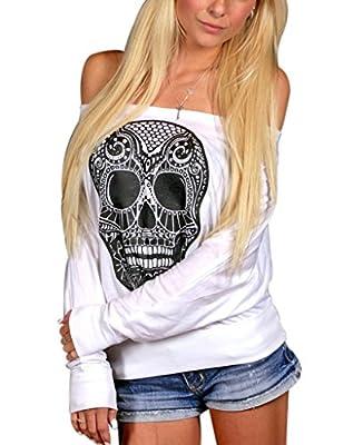 Sumtory Women Off Shoulder Loose Skull Print Batwing Long Sleeve Top Blouse