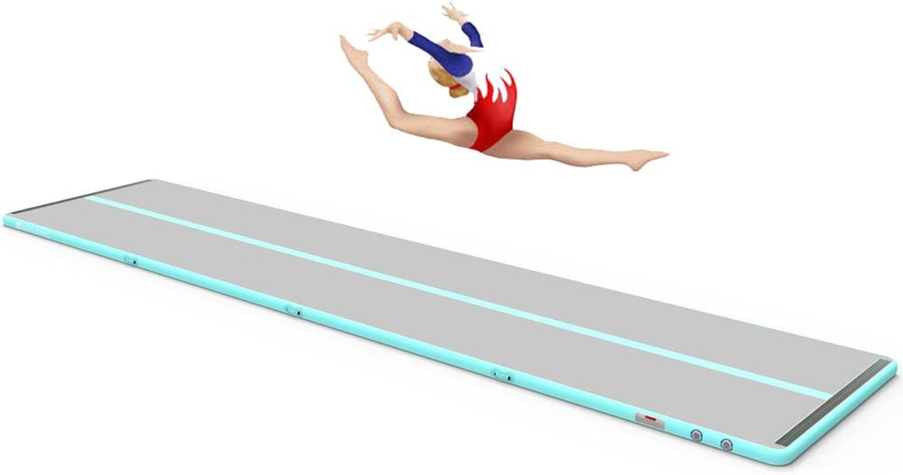 Sinolodo インフレータブル体操 エアタンブルトラック (幅5フィート x 高さ6インチ) インドア&アウトドア使用 | ガールズ ボーイズ Ice青