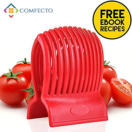 Multiuse Tomato Slicer Holder with Firm Grip Ergonomic 13 Dividers Design for Precise Cuts Slicing Shredding Tomatoes Lemons Potatoes Round Fruits Vegetables with Bonus eBook