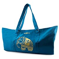 Peace Yoga® Blue Yoga Mat Carrier Tote Bag With Adjustable Straps - Elephant Design