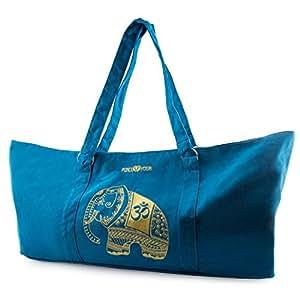 Peace Yoga® Blue Yoga Mat Carrier Tote Bag With Adjustable Straps - Elephant Design