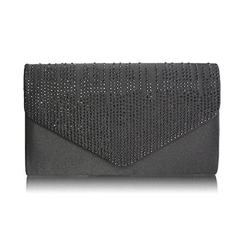 Bolso de mano para mujer, diseño de lentejuelas, para fiesta de graduación, boda, fiesta de tarde Black Envelope Clutch