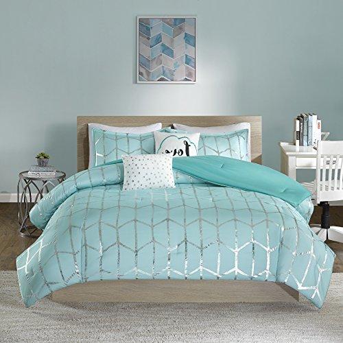 4 Piece Coastal Geometric Chevron Patterned Comforter Set Twin/Twin XL Size, Printed Pastel Fashionable Geo Zigzag Chevrons Vertical Stripes Lines Bedding, Elegant Metallic Modern Design, Turquoise ()