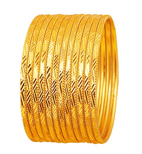 Touchstone New Golden Bangle Collection. Indian Bollywood Rich Glossy Golden Yellow Textured Color Pretty Cut Work Designer Jewelry Bangle Bracelets. Set of 12. in Silver Tone for Women.