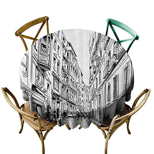 one1love Waterproof Table Cover Cityscape Urban Streets Scenery with Apartments and People European Town Sketch Panorama Table Cover for Home Restaurant 70 INCH Black White