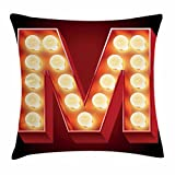 Ambesonne Letter M Throw Pillow Cushion Cover, Vintage Alphabet Collection of Old Movie Theaters Casinos Retro Type, Decorative Square Accent Pillow Case, 18 X 18 Inches, Vermilion Yellow Black