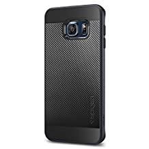Spigen Neo Hybrid Carbon Galaxy S6 Edge Plus Case with Carbon Fiber Design and Reinforced Hard Bumper Frame for Samsung Galaxy S6 Edge Plus 2015 - Metal Slate