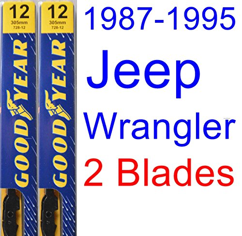 1987-1995 Jeep Wrangler Replacement Wiper Blade Set/Kit (Set of 2 Blades) (Goodyear Wiper Blades-Premium) (1988,1989,1990,1991,1992,1993,1994)