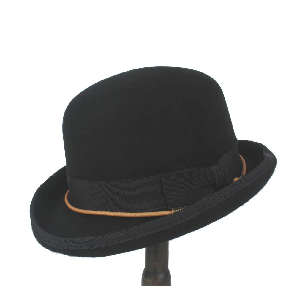 LL Men Women Unisex Wool Bowler Hat Chain Bow Elegant Dome Hat Luxury Soft Hat Headwear Retro Steampunk (Color : Black, Size : 61cm)