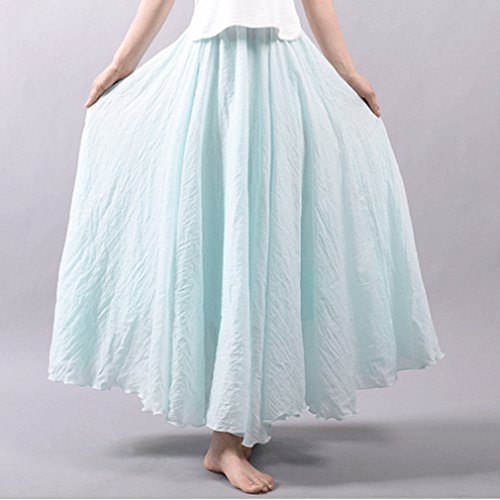 Lin Taille Maxi 95 Bleu Couche 85 cm Jupes Dames Coton Longues Jupe Femme cm Doux Haute Confortable Juleya Jupe Couleurs 20 Double Jupes xAgYqO