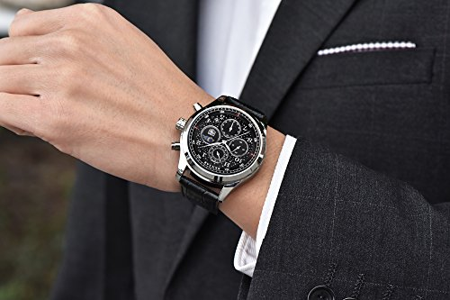 Mens-black-Leather-Quartz-Watches-Chronograph-Waterproof-Date-Display-Analog-Starry-Sport-Wrist-Watches