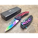Mtech Assisted Opening Rescue Tactical Pocket Folding Collection Knife Outdoor Survival Camping Hunting - Red with Rainbow Blade New!