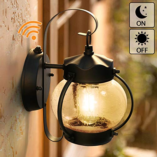 Dusk to Dawn Sensor Wall Lantern Outdoor Light Fixture Black Sconce Porch Light with E26 Base Socket, Anti-Rust Seeded Glass Waterproof Matte Black Wall Lamp for Garden, Garage