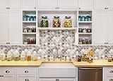 Peel and Stick Tile Backsplash for Kitchen Bathroom,Pink Arabesque Tile Backsplash,Mosaic Backsplash Sticker,3D Decorative Wall Stickers(5 Tiles)