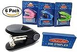 Mini Stapler (Value 6 Pack) Including 500 Staple with Each Stapler – Assorted Colors