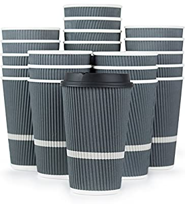 Ripple Disposable Coffee Cups With Lids - 16 oz To Go Coffee Cups (80 Set)