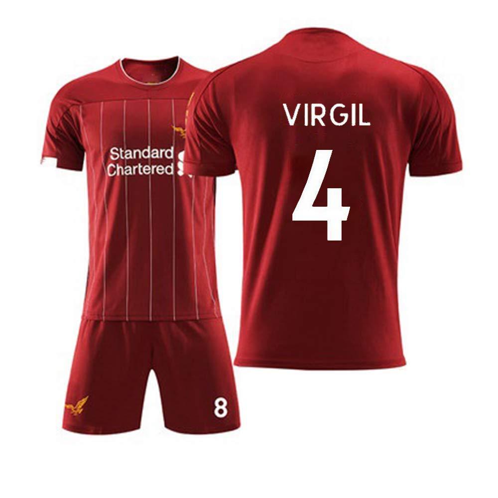 Camicie + Pantaloncini ,Adult~2XL QQT Magliette da Calcio Liverpool Maglie per Tifosi 4th Virgil Home Field Jersey Abito per Bambino e Adulto 90~100KG//185~190CM