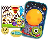 12 Pk Create Your Own Sticker Activity, Large Glossy Cardboard with Foam Stickers, Make your own funny face Stickers, Party Arts Craft Activity Kit for Boys, Girls, Kids, Toddlers, Preschooler, Bulk