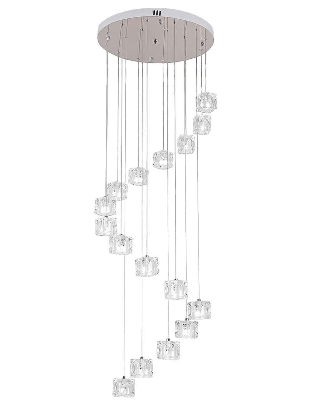 vindeng crystal square chandelier for villa stairs, led g4 16-lights luxury  ceiling light pendant light creative decor adjustable hanging height-cold  white