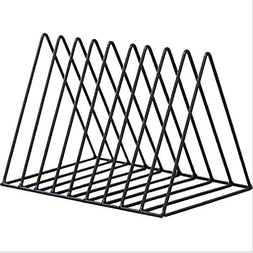 Heavy Duty Metal Triangle Organizer Rack,Freestanding Desktop Documents/Magazines/Notebooks/Folder Organizer Rack with 9 Slot