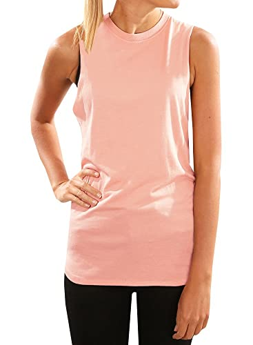 Pxmoda Women Casual Stretch Solid Tank Top (Large, X-Pink)