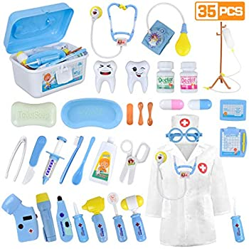 Loyo Medical Kit For Kids 35 Pieces Doctor Pretend Play Equipment Dentist Kit For Kids Doctor Play Set With Case