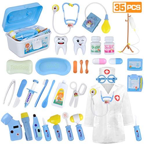 LOYO Medical Kit for Kids - 35 Pieces Doctor Pretend Play Equipment