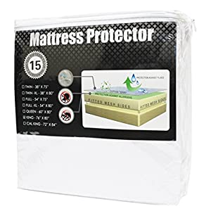 "Superior Queen Size Premium 100% Waterproof Mattress Protector Pad - 100% Cotton Terry Surface, Hypoallergenic, Deep Pocket Skirt Fits Up to 22"" Mattress, 15-Year Warranty"