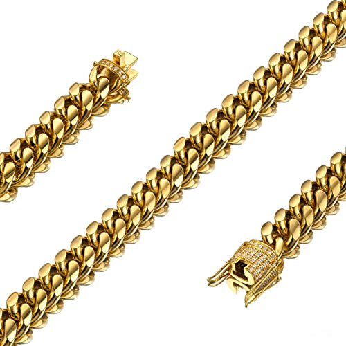 Jxlepe Mens Womens 10mm Miami Cuban Link Chain 18K Gold Stainless Steel Curb Boys Necklace with cz Diamond Light Duty Solid Chain Choker (Necklace, 18)