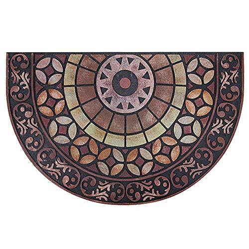 (Antique Half Circle Semicircle Print Door Mats Entryway Rug Mat Decor Doormats Rubber Non Slip, 35
