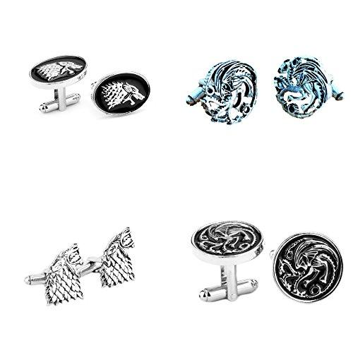 Athena HBO Game of Thrones House Stark and Targaryen Crests (4-Set) Wedding Groomsman Cufflinks w/Gift Box