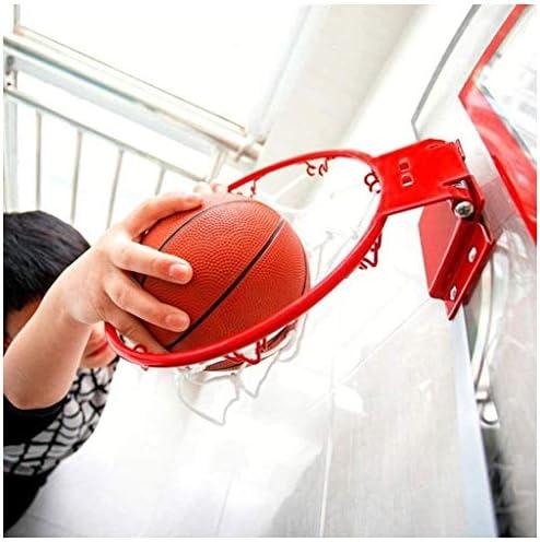 屋内バスケットボールフープバスケットボールウォールマウントボードミニ大人と子供のための適切なボールとポンプとバスケットボールフープウォールマウントミニバスケットボールボード玩具セット、パンチフリー(45.5 * 30.5Cm)(カラー:ブラック) (Color : Black)