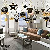 Graduation Hanging Decorations Swirls Kit - Big Pack of 33 | Beautiful Hanging Ceiling and Door Decoration for Graduation Party Supplies 2018 | Graduation Decorations for High School Prom Grad Party