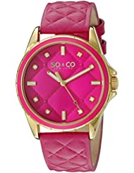 SO&CO New York Womens 5201.2 SoHo Quartz Pink Quilted Leather Strap Watch