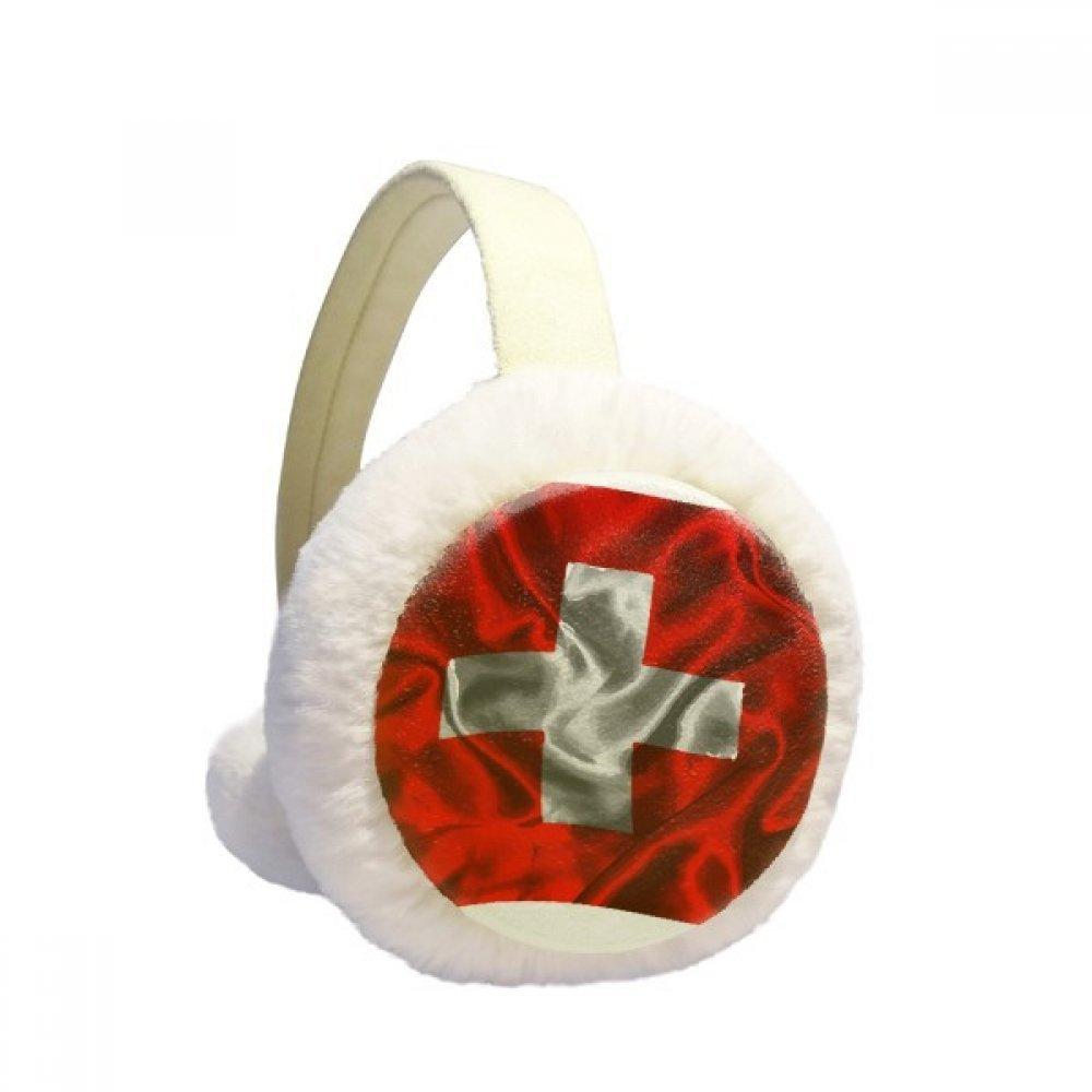 Silk Texture Switzerland Abstract Flag Pattern Winter Earmuffs Ear Warmers Faux Fur Foldable Plush Outdoor Gift