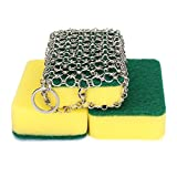 Cheap NKTM Stainless Steel Cast Iron Cleaner Chainmail Scrubber with 3pcs Sponges for Cast Iron Pan Skillet Dutch Ovens Waffle Iron Pans Scraper Cast Iron Grill Scraper