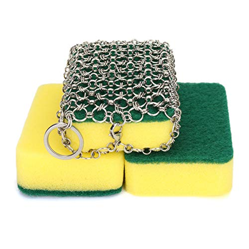 NKTM Stainless Steel Cast Iron Cleaner Chainmail Scrubber with 3pcs Sponges for Cast Iron Pan Skillet Dutch Ovens Waffle Iron Pans Scraper Cast Iron Grill Scraper
