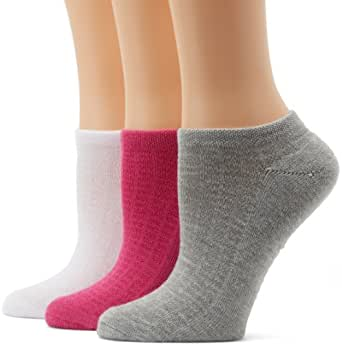 Reebok Women's 3 Pack Logo No Show, White/Pink/Grey, One Size (Shoe Size 6-10.5)