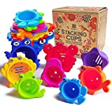 aGreatLife Stacking Cups Bath Toys for Toddlers: My First Under The Sea Animal Stacker with Holes for Sprinkling Water…