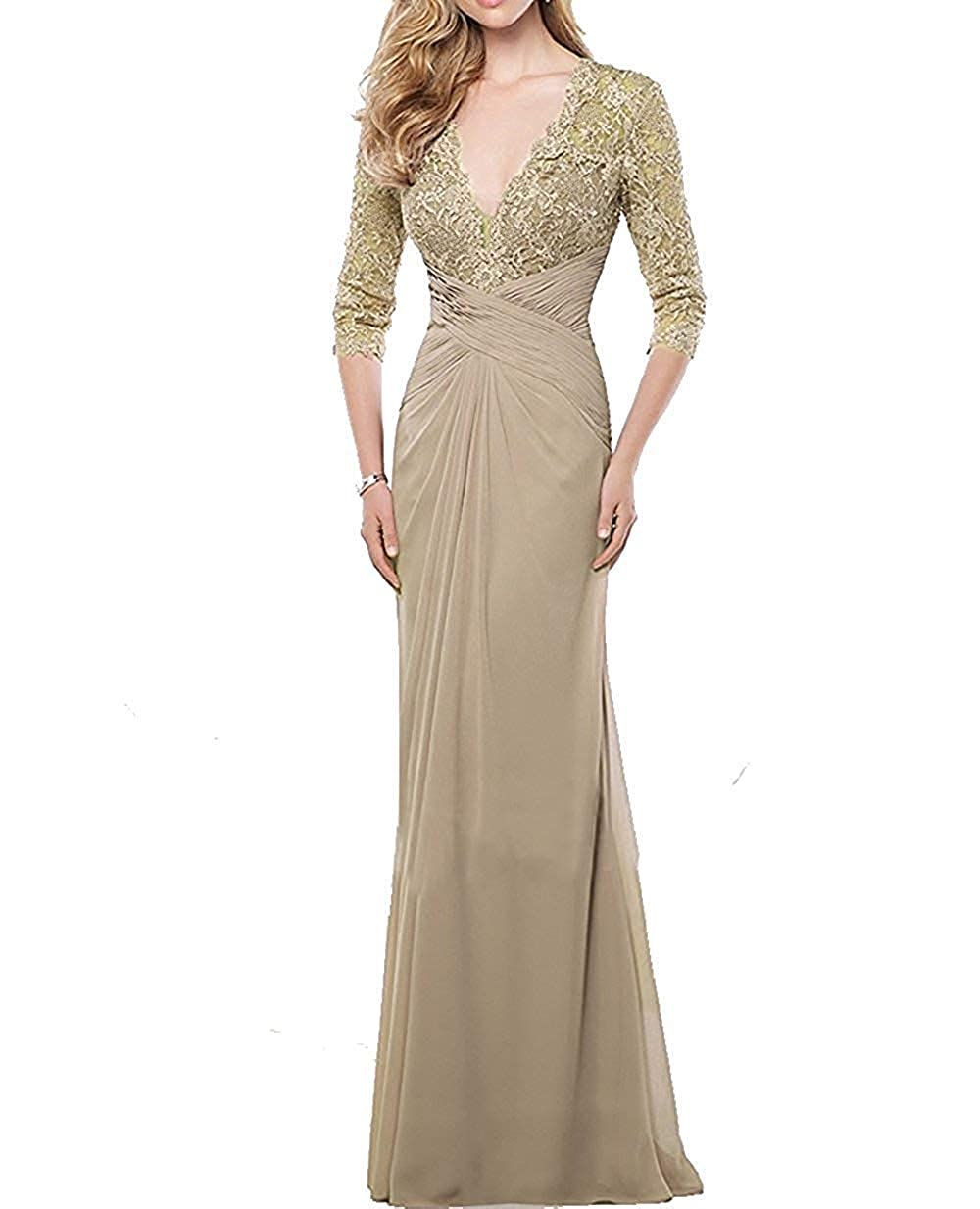 Champagne Mother of The Bride Dresses with Long Sleeves Mothers Bride Dress Formal Gowns Evening Dresses
