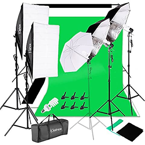 Kshioe 2M x 3M/6.6ft x 9.8ft Background Support System and 900W 6400K Umbrellas Softbox Continuous Lighting Kit for Photo Studio Product,Portrait and Video Shoot (Photo Product Studio)