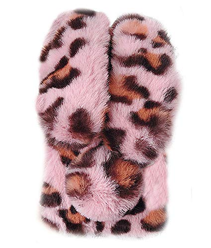 UnnFiko Fur Rabbit Compatible with iPhone X/iPhone Xs, Cute Toy Warm Handmade Bunny Furry Soft Fur Diamond Plush Leopard Print Case Protective Covers (Rabbit Pink, iPhone X/Xs)